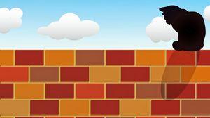 Preview wallpaper cat, brick wall, fence, vector, art