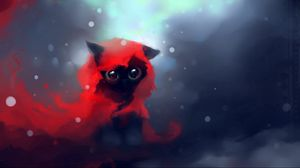 Preview Wallpaper Cat Drawing Art Apofiss