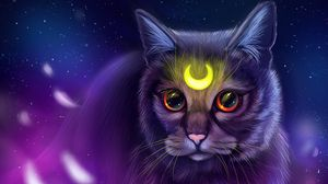 Preview wallpaper cat, glance, art, symbol, glow