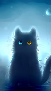 Preview wallpaper cat, heterochromia, black cat, art