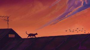 Preview wallpaper cat, roof, birds, night, dark, art