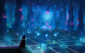 Preview wallpaper cat, roof, city, neon lights, metropolis, future, cyberpunk