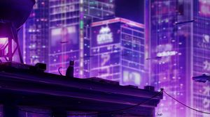 Preview wallpaper cat, roof, city, future, neon, backlight