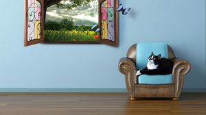 Preview wallpaper cat, summer, window, watching, fairy tale, butterfly