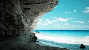 Preview wallpaper cave, sea, coast, rock, paradise