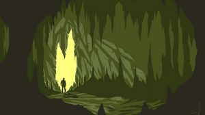 Preview wallpaper cave, silhouette, art, vector, dark