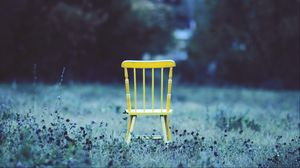 Preview wallpaper chair, field, grass, flowers, minimalism