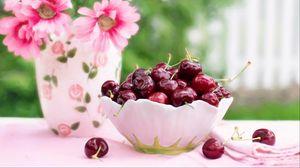 Preview wallpaper cherries, cherry, dish, flowers