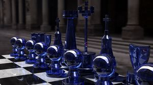 Preview wallpaper chess, silver, glass, table, form