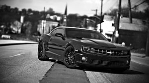 Preview wallpaper chevrolet camaro, chevrolet, cars, front view, black white