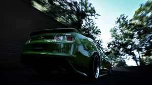 Preview wallpaper chevrolet, camaro, green, rear bumper, speed, blur