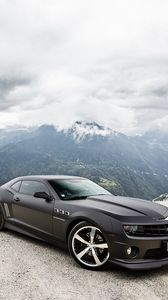 Preview wallpaper chevrolet, camaro ss, black, sky, clouds, mountains
