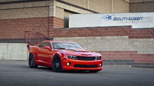 Preview wallpaper chevrolet, camaro ss, red, side view