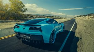 Preview wallpaper chevrolet, corvette, c7, stingray, forgiato, blue, rear view