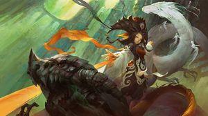 Preview wallpaper chi mei gui, wu xuan lan, dragon, fantasy, girl, art