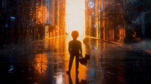 Preview wallpaper child, city, flash, street, light, bright