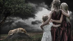 Preview wallpaper children, girls, lion, stone, wood, cloudy