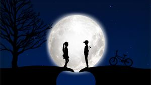 Preview wallpaper children, silhouettes, love, moon, romance