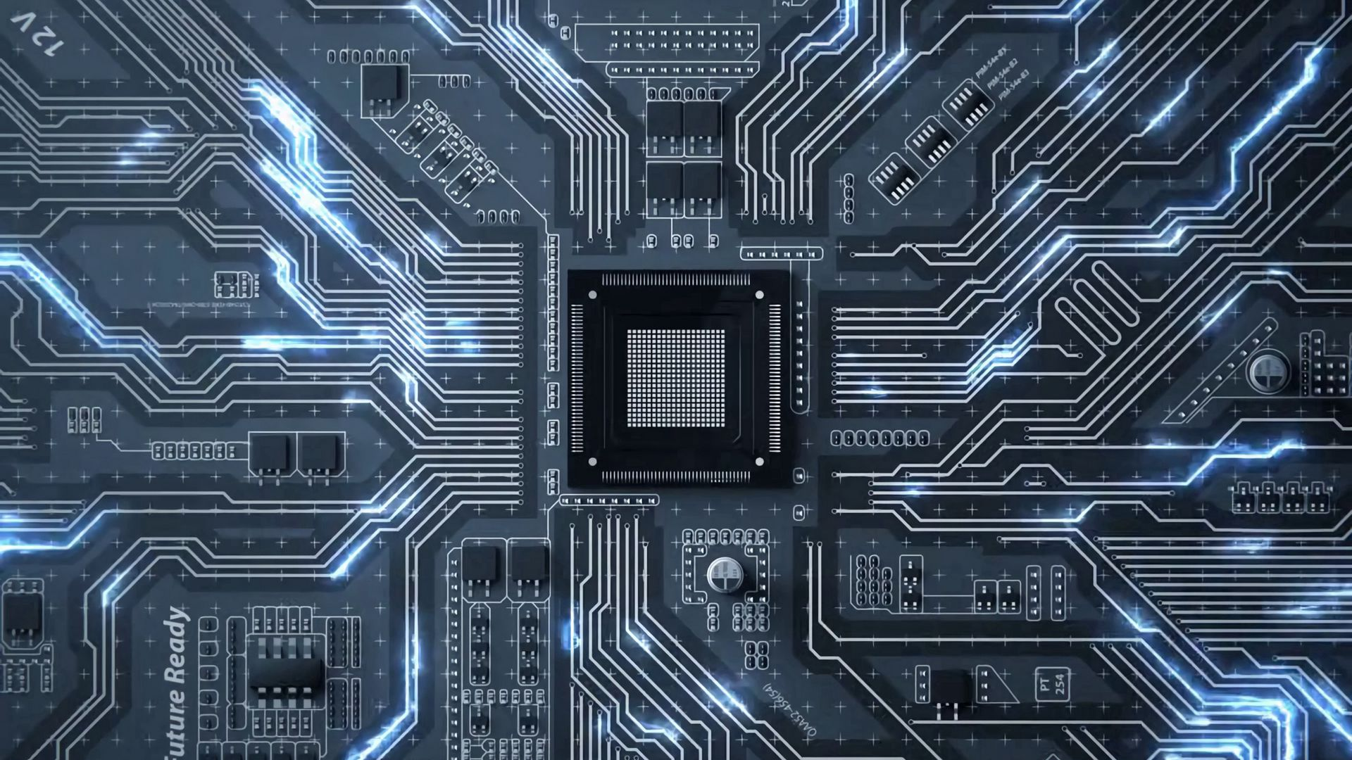 1920x1080 Wallpaper chip, circuit, processor, transistors, tracks, glow