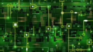 Preview wallpaper chip, grid, background, black, green, line, circuit