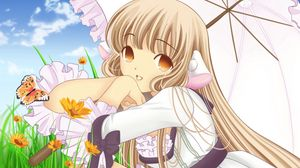 Preview wallpaper chobits, girl, blonde, pretty, umbrella, posture