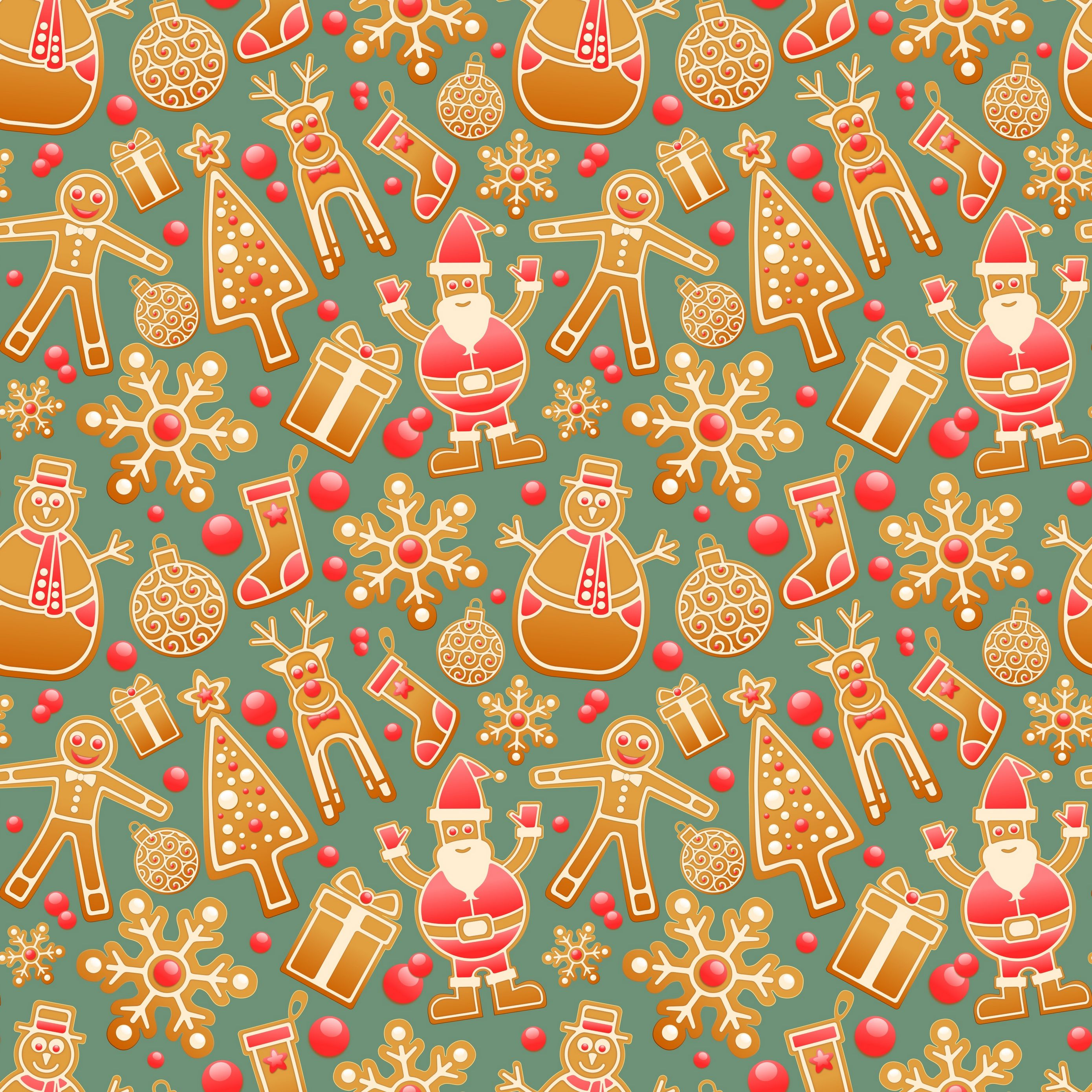 2780x2780 wallpaper christmas new year gingerbread snowman santa claus