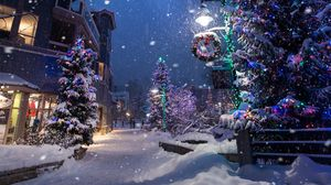 Preview wallpaper christmas, new year, winter, street, snowfall, mood