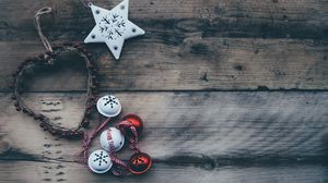 Preview wallpaper christmas, sphere, heart, ornament, star