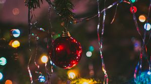Preview wallpaper christmas tree, ball, fir, new year, christmas
