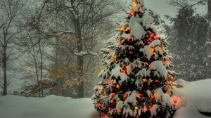 Preview wallpaper christmas tree, toys, light, snow