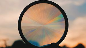 Preview wallpaper circle, sunset, rainbow, shape, dark