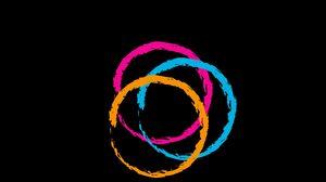 Preview wallpaper circles, pink, blue, orange