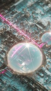 Preview wallpaper city, 3d, cupola, glare