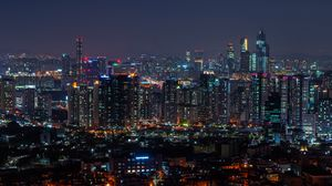 Preview wallpaper city, aerial view, architecture, buildings, night, city lights, cityscape, panorama