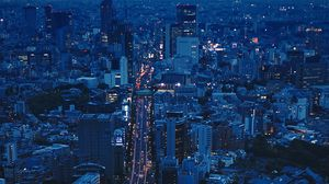 Preview wallpaper city, aerial view, evening, architecture, overview, tokyo, japan