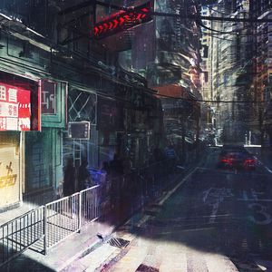 Preview wallpaper city, art, cyberpunk, night, movement
