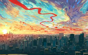 Preview wallpaper city, art, sky, buildings