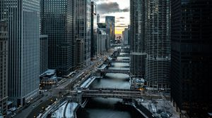 Preview wallpaper city, buildings, aerial view, bridges, chicago