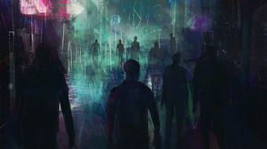 Preview wallpaper city, crowd, silhouettes, cyberpunk, art, night city