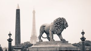 Preview wallpaper city, france, paris, monuments, statue, lion