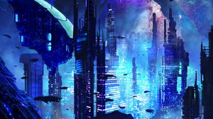 Preview wallpaper city, futurism, sci-fi, future, fantastic
