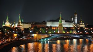Preview wallpaper city, moscow, night, lights, bridge, reflection, river