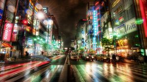 Preview wallpaper city, night city, tokyo, hdr