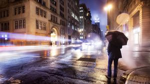 Preview wallpaper city, night, cloudy, lonely, man, umbrella