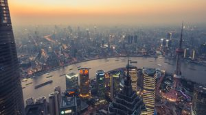 Preview wallpaper city, panorama, smog, megalopolis, buildings, river