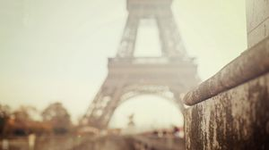 Preview wallpaper city, paris, eiffel tower, bokeh, focus, blur