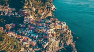 Preview wallpaper city, rocks, mountains, sea, manarola, italy