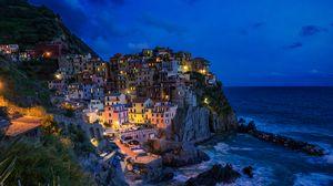Preview wallpaper city, sea, cliff, coast, steep, rocky, manarola, italy