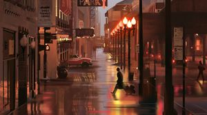 Preview wallpaper city, street, art, buildings, signs, lights