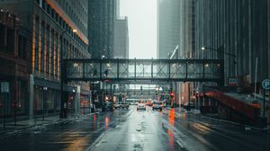 Preview wallpaper city, street, fog, movement, architecture